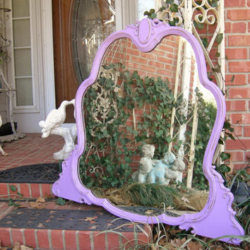 Pansy Purple Mirror Hand Painted Shabby Chic Antique Mirror Beautiful Curvy