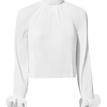 White Pleated Crop Top