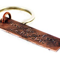 Best Day Ever Custom Personalized Copper Keychain.