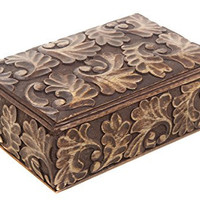 Homey Keepsake Storage Box Jewelry Trinket Holder Organizer Strong Wood with Hand Carved Floral Patterns, 9 x 5.5 inches