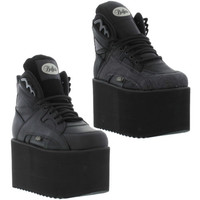 Buffalo 1310-2 Mens Womens Black High Platform Trainers Boots Size 4