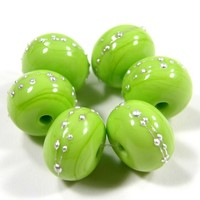 Glossy Pea Green Green Lampwork Beads Matte Glass Silver 212gfs Glossy Pea Green Green Lampwork Beads Matte Glass Silver 212gfs - Green Glass Handmade Lampwork Beads Wrapped In Fine Silver by Covergirlbeads Texas Glass Artist, Charlotte Hayes [] - $3.00 :
