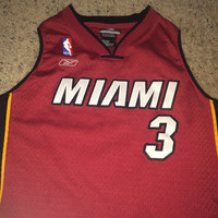 Sale!! Vintage Reebok MIAMI HEAT Basketball Jersey NBA Shirt #3 Wade