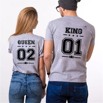 KING 01 QUEEN 02 Matching T-Shirts His and Hers Casual Outfit Tee Tops Hipster Fashion Couple Shirts Men Women Letter T Shirt