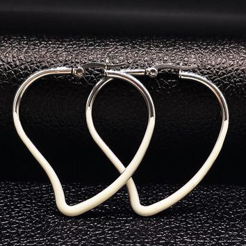 Stainless Steel Heart Earring Circle Women Jewelry White Enamel Silver Color Hoop Earings 2017 Jewelry brincos de prata E612243