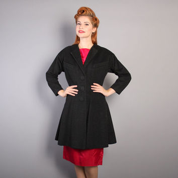 50s Lilli Ann Princess COAT / Dark Charcoal Fleck Fit n Flare, m