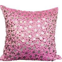 Pink Decorative Pillow Cover, Sparkle Glitter Pillow,Silver Sequins Pillows, 16x16 Pink Sequins Pillows