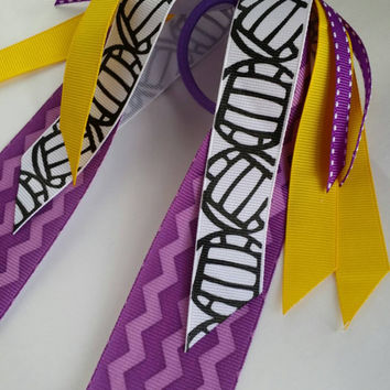 Purple and yellow volleyball hair streamers, ponytail holder ribbon, netball hair ribbon, school team spirit, volleyball player gift, gold