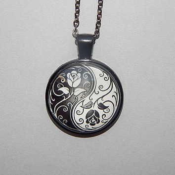 Yin Yang symbol flovers Necklace pendant keychain, Ying Yang jewelry, Ying Yang flovers logo, flovers Ying Yang, gift for mom