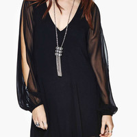 Black Cut-Out Long Sleeve with Floral T-Lace Back Chiffon Overlay Mini Dress