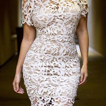 Cream White 2PC Hollow-out Lace Midi Dress