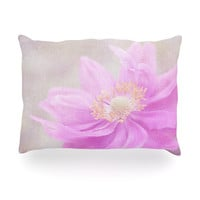 "Iris Lehnhardt ""Wind Flower"" Pink Floral Oblong Pillow"