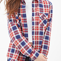 FOREVER 21 Classic Plaid Shirt Navy/Red