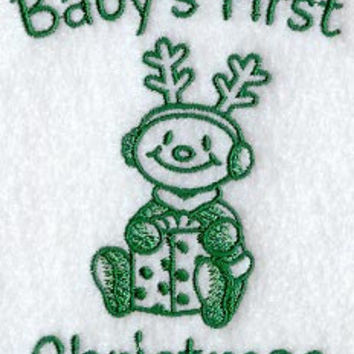Hand Towel - BABY CHRISTMAS design Luxury white cotton
