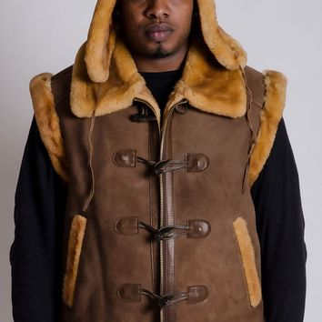 SHORT SLEEVE SHEARLING WITH HAT MENS