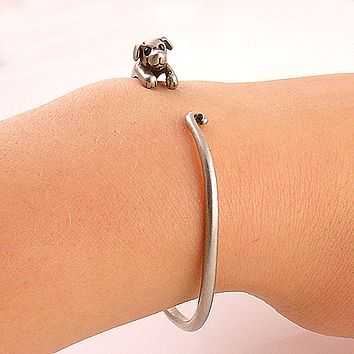 Animal Wrap Bracelet- Puppy- White Bronze - keja jewelry