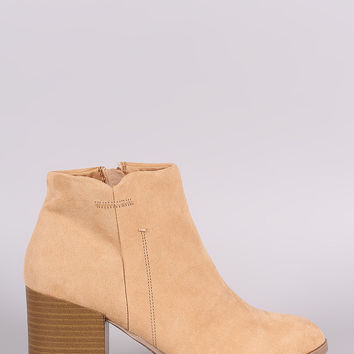Qupid Suede Side Stitch Zip-Up Booties