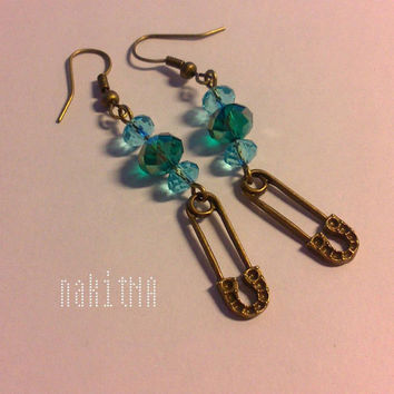 Safety Pin Earrings in Vintage Bronze with Blue and Turqouise Swarovski  (handmade, dangle, charm, cute, perfect for gift)