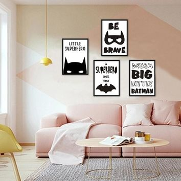 Superhero Batman Canvas Painting Inspiring Quotes Wall Art Pictures Nordic Pop Poster Print For Office Living Room Home Decor