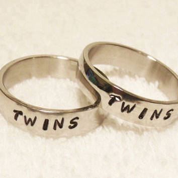 Couples Hand Stamped Name Ring, Set of 2 Rings, Promise Rings, Stainless Steel Wedding Bands, 6 mm Shiny Finish Ring (HSSR0003)