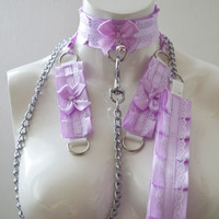 Kitten play collar leash and cuffs - lavender beauty - bdsm proof kittenplay gear ddlg kink petplay slave girl boy adult sexy pastel choker