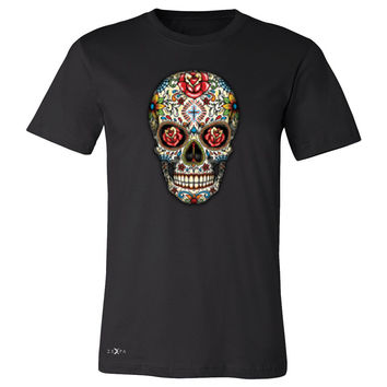 Zexpa Apparel™ Sugar Skull Red Roses Men's T-shirt Day of Dead Dia de Muertos Tee