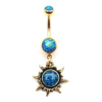Womens Turquoise Opal Bronze Celestial Sun Navel Belly Button Rings 14g 1Pc
