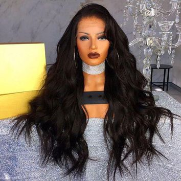 LMFOK5 DLME Synthetic Lace Front Wigs For Black Women Long Body Wave Black Wig Heat Resistant Fiber Hair For African American Wigs