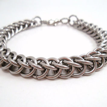 Stainless Steel Chainmail Bracelet by SerenityInChains on Etsy