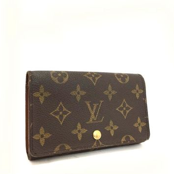 Auth Louis Vuitton Monogram Porte Monnaie Billets Tresor Bifold Wallet /g344