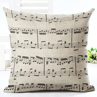 MYJ Music Series Note Printed Linen Cotton Square 45x45cm Home Decor Houseware Throw Pillow Cushion print your name