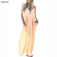 2016 Women Sexy Spaghetti Strap Sleeveless Pocket Floor-Length Summer Sexy Loose Boho Beach Long Maxi Dress