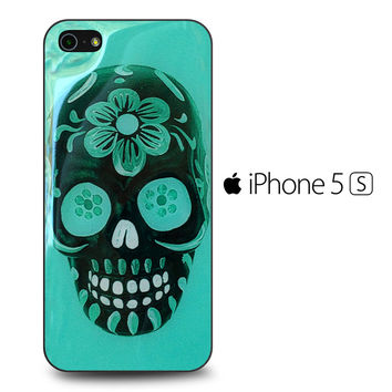 Floral Sugar Skull Turqoise iPhone 5S Case