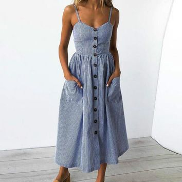 Strappy, Stripped, Button, Sundress
