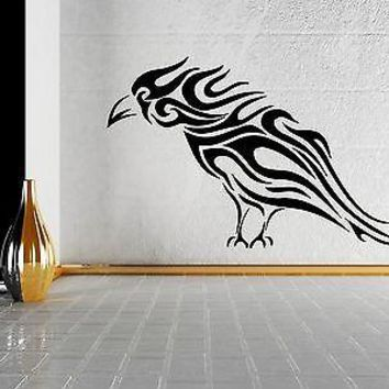 Wall Sticker Vinyl Decal Black Raven Bird Grunge Style Sketch Art Unique Gift (m049)