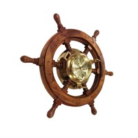 Light Brown Maritime Theme Wood Ship Wheel Clock