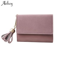 Aelicy 6 Colors Women Mini Wallets Female Tassel Short Money Wallets PU Leather Coin Purses Fashion Card Holders Carteira 2018 L