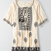 AEO Lace-Up Shift Dress , Cream