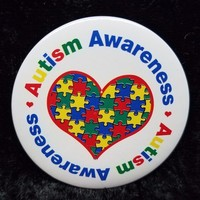 Autism Awareness Button.  Autism Pin to Show Your Support