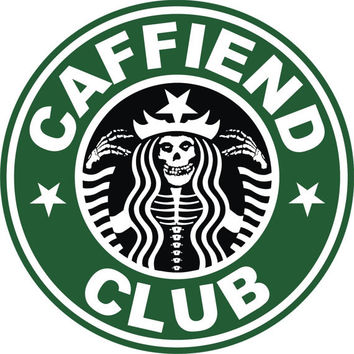 1 inch Caffeind Club Button / Pin ( Misfits / Starbucks )