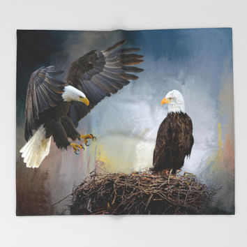 Eagles Nest Throw Blanket by Theresa Campbell D'August Art