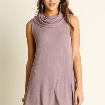 NEW UMGEE USA boutique mocha sleeveless cowl neck tunic top