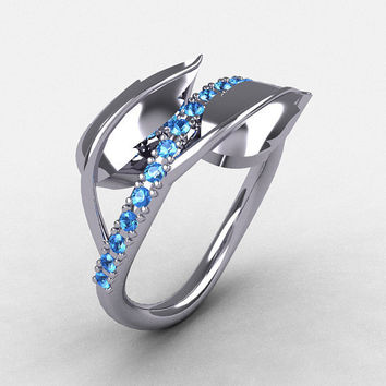 10K White Gold Blue Topaz Leaf and Vine Wedding Ring, Engagement Ring NN113-10KWGBT