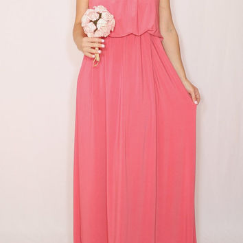Long coral dress Coral Bridesmaid dress Maxi dress