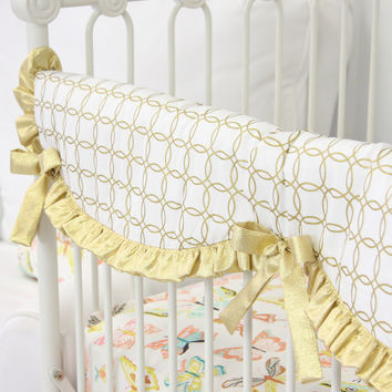 Buttercup Ruffle Baby Bedding | Gold Crib Rail Cover