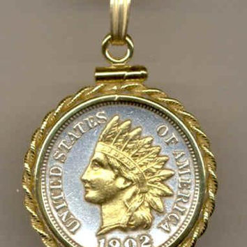 Gorgeous 2-Toned Gold on Silver U.S. Indian head penny Necklaces