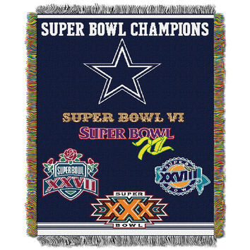 Dallas Cowboys NFL Super Bowl Commemorative Woven Tapestry Throw (48x60)