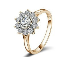 [Fashion Series] Yoursfs 18k Rose Gold Plated Sunflower Cubic Zirconia CZ Ring Mother's Day Gift