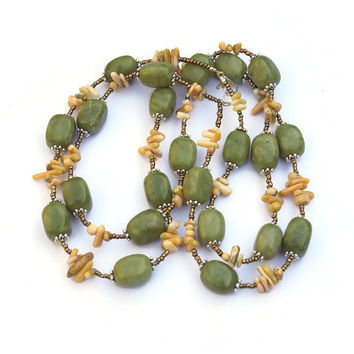 Chunky Olive Green Double Strand Necklace, Natural Stone Statement Jewelry, Canadian Jade Coral, OOAK Handmade Unique, ALFAdesigns