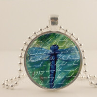 Blue and green Dragonfly, glass and metal Pendant necklace Jewelry.